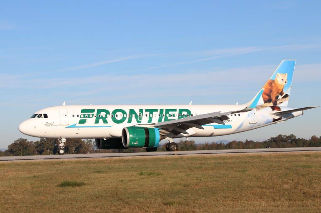 Frontier Airlines Plane landing at GSP Airport