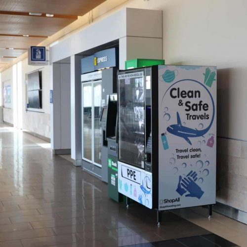 Clean Safe Travel PPE Vending Machine at GSP Airport
