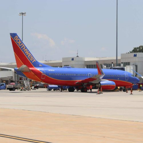 Southwest Airlines Plane on Ramp at GSP Airport