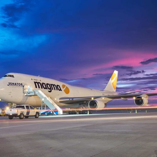 magma boeing 747 on GSP airport cargo ramp at sunset